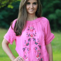 Umgee Pink Embroidered Top - Boutique At Audrey's