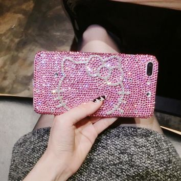 Hello Kitty Luxury Full Rhinestone Case For Samsung Galaxy S3 S4 S5 S6 S7 Edge S8 S9 Plus Note 2 3 4 5 7 8 9 Neo G530 G850