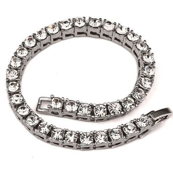 1 Row Iced Out Rhinestone Bracelet Men Hip Hop Silver CZ Link Chain Bracelet Hippie Biker Jewelry