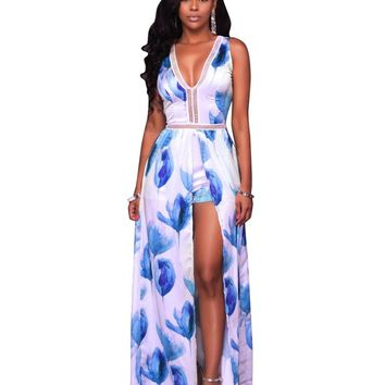 2017 New Adogirl Plus Size Summer Sexy Playsuit with Long Skirt Hollow Out Jumpsuit Floral Print Sleeveless V neck Women Romper