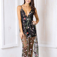 enchanted evening embroidered lace maxi dress - black