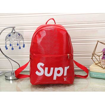 LV x Supreme Leather Bookbag Daypack Travel Bag School Bag Backpack
