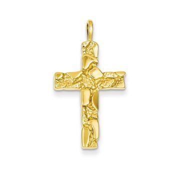 14k Yellow Gold Nugget Cross Pendant
