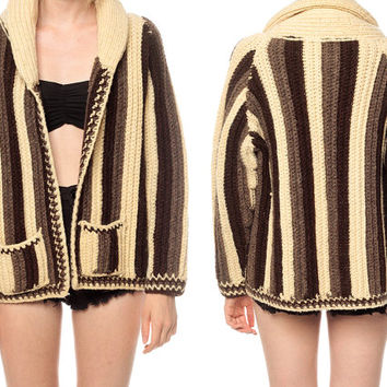 WOOL Cardigan Sweater 70s WRAP Striped Knit Hippie by ShopExile