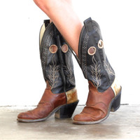 Vintage LEATHER Tri-Tone OLATHE Cutout Tall Cowboy Western Boots // Black Brown Cream White // Hippie Boho Gypsy Biker // Women's US 9
