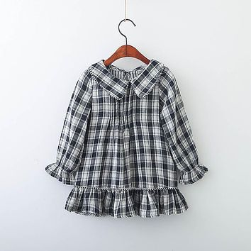 Baby Girl Plaid Turn-down collar Dress Clothes Children Long Sleeve clothing Kids ruffles Casual cotton Dresses