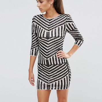 TFNC Sequin Mini Dress With 3/4 Sleeves at asos.com