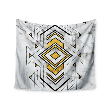 """KESS Original """"Geo Marble Graphic"""" Gold Tribal Wall Tapestry"""
