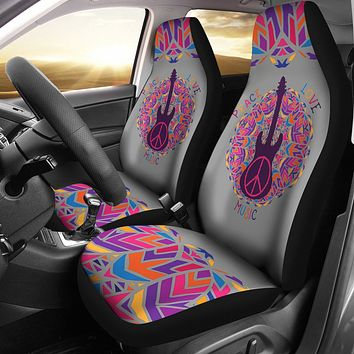 Peace Love Music Car Seat Covers