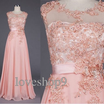 Pink  Chiffon Prom Dress lace prom gown Formal Party Fashion Wedding PartyDress Prom Dress  Homecoming Dress Cheap BridesmaidDress