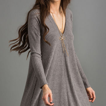 Tayla V-Neck Grey Sweater Dress by LUSH