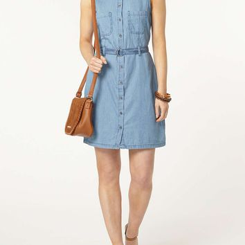 Sleeveless Denim Shirt Dress | Dorothyperkins