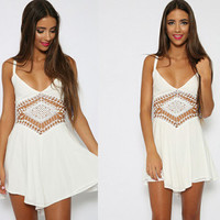 White Straps Cutout Asymmetrical Chiffon Dress