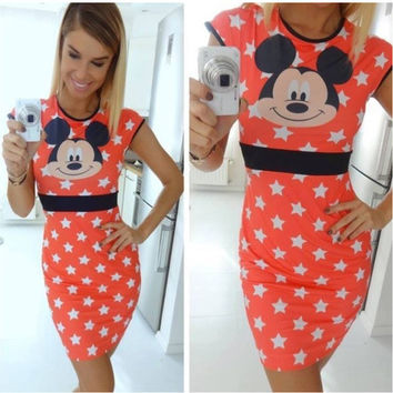 Orange Star and Mickey Mouse Print Dress