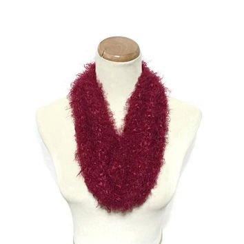 Valentine's Day Scarf, Knit Cowl, Red Scarf, Neck Warmer, Hand Knit Scarf, Spring Scarf, Cowl, Gift For Her