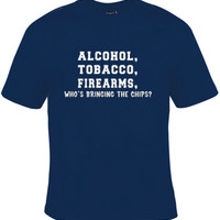Funny Graphic Tee, Alcohol,Tobacco,Awesome Party Tee Gift, Great Christmas Gift, Funny Tee for Men and Women