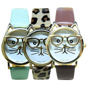 boys girls fashion Accessories Glasses Cat Dial Leather Band Wristwatch Analog Quartz Casual Cool Watches = 5987646081