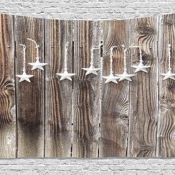 Primitive Country Decor /Tapestry Silver Ornate Stars on Wooden Rustic Fence Cabin Print