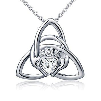 AUGUAU 925 Sterling Silver Irish Claddagh Celtic Knot Love Heart Pendant Necklace, 18""
