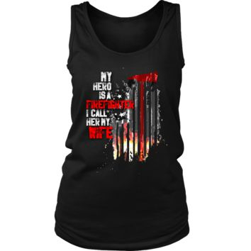 Women's Thin Red Line American Flag Firefighter Wife Tank Top