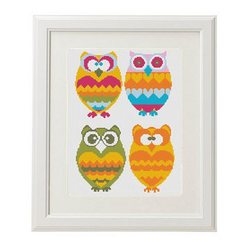 Owl Cross Stitch Pattern Modern PDF Cross stitch patterns printable funny cross stitch pattern Bird cross stitch pattern animal #7