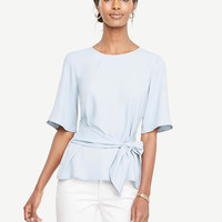Belted Mixed Media Top | Ann Taylor