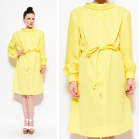 60s Yellow Mod Shift / Funnel Boat Neck Tie Belt Party Cocktail Long Sleeve Dress M / L