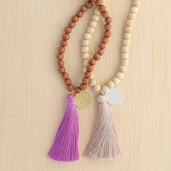 Wooden or Stone Bead Tassel Necklace