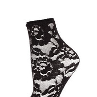 Black Floral Lace Socks - Tights & Socks  - Clothing