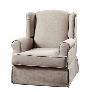 Marlena collection beige linen like fabric upholstered swivel wing back rocker chair