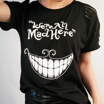 Alice in Wonderland Print T-Shirt Black We're crazy here Short Sleeve T-shirt Summer