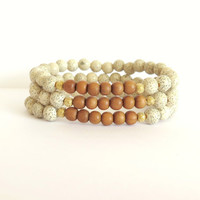 White Lotus Seed Bracelet with Fragrant Indian Sandalwood / Boho Chic Bracelet / Meditation / Yoga Jewelry / Minimalist Eco Friendly Chic