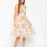 ASOS WEDDING Printed and Sheer Layer Prom Dress at asos.com