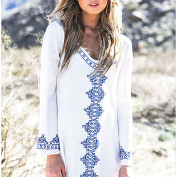 White Geometric Print Long-Sleeve Dress