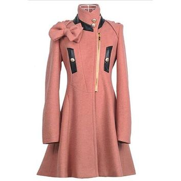 Pink Stand Collar Bow Design Long Sleeves Wool Coat