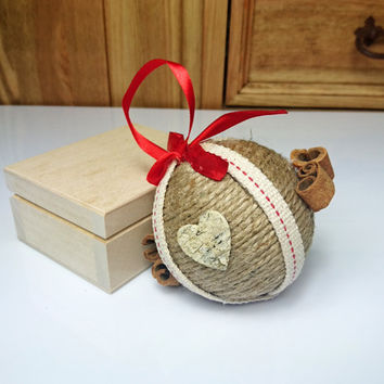 Brown and red christmas tree ornament cotton cord birch bark hearts cinnamon natural rustic decor ribbon cozy cottage burlap