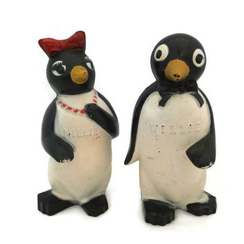 Penguins Salt and Pepper Shakers - Willie and Millie,  Kool Kitchen Collectible