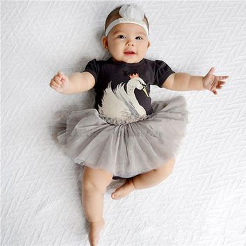Patchwork Tutu Short Sleeve Dress Infant Baby Girls Summer Cute Animals Minions Ball Gown Tulle Clothes Dresses Girls