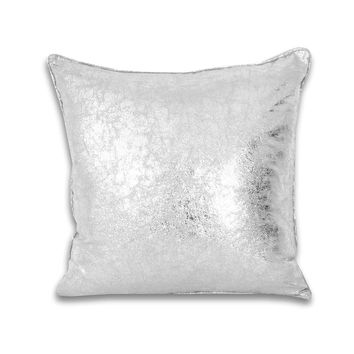Square Crackle Metallic Pillow - Silver