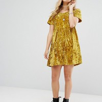 Glamorous Smock Dress In Crushed Velvet at asos.com