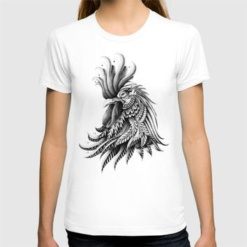 Ornately Decorated Rooster T-shirt by BIOWORKZ
