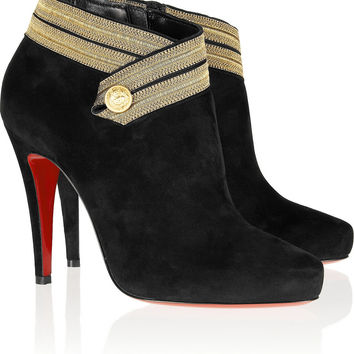 Christian Louboutin Marychal 100 suede ankle boots – 50% at THE OUTNET.COM