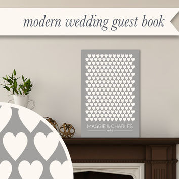 Modern Canvas Wedding Guest Book Hearts Large Personalized Art Canvas - Custom Color - Multiple sizes - Ready To Hang Guestbook Alternative