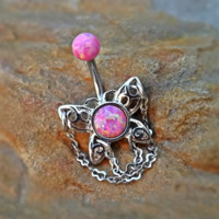 Fire Opal Butterfly Belly Ring Pink Stainless Steel Fits In Navel Ring 14ga Body Jewelry
