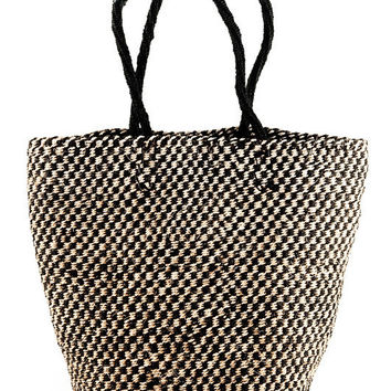 Black and White Checkered Sisal Tote Bag