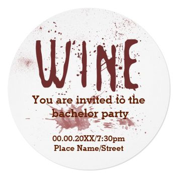 Red Wine Bachelor Party Invitation