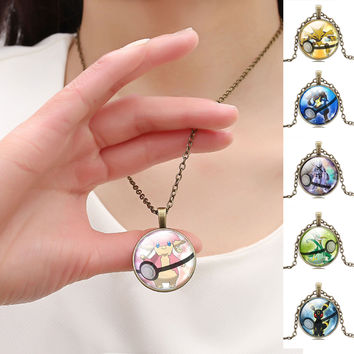 Cartoon Jewelry Pocket Monster Pokemon Glass Dome Necklace Pikachu Pendant Chain Jewelry Necklace