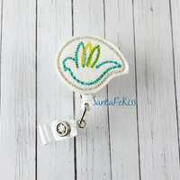 Dove ID Badge - Embroidered Felt Badge Reel - Retractable ID Badge Holder - Badge Reel Clip - Medical Badge