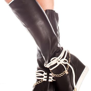 BLACK FAUX LEATHER SIDE TIED LACE GOLD CHAIN ACCENT SIDE ZIPPER KNEE HIGH WEDGE BOOTS