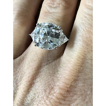 A Stunning 4.8CT Cushion & Trillion Cut Russian Lab Diamond Engagement Ring